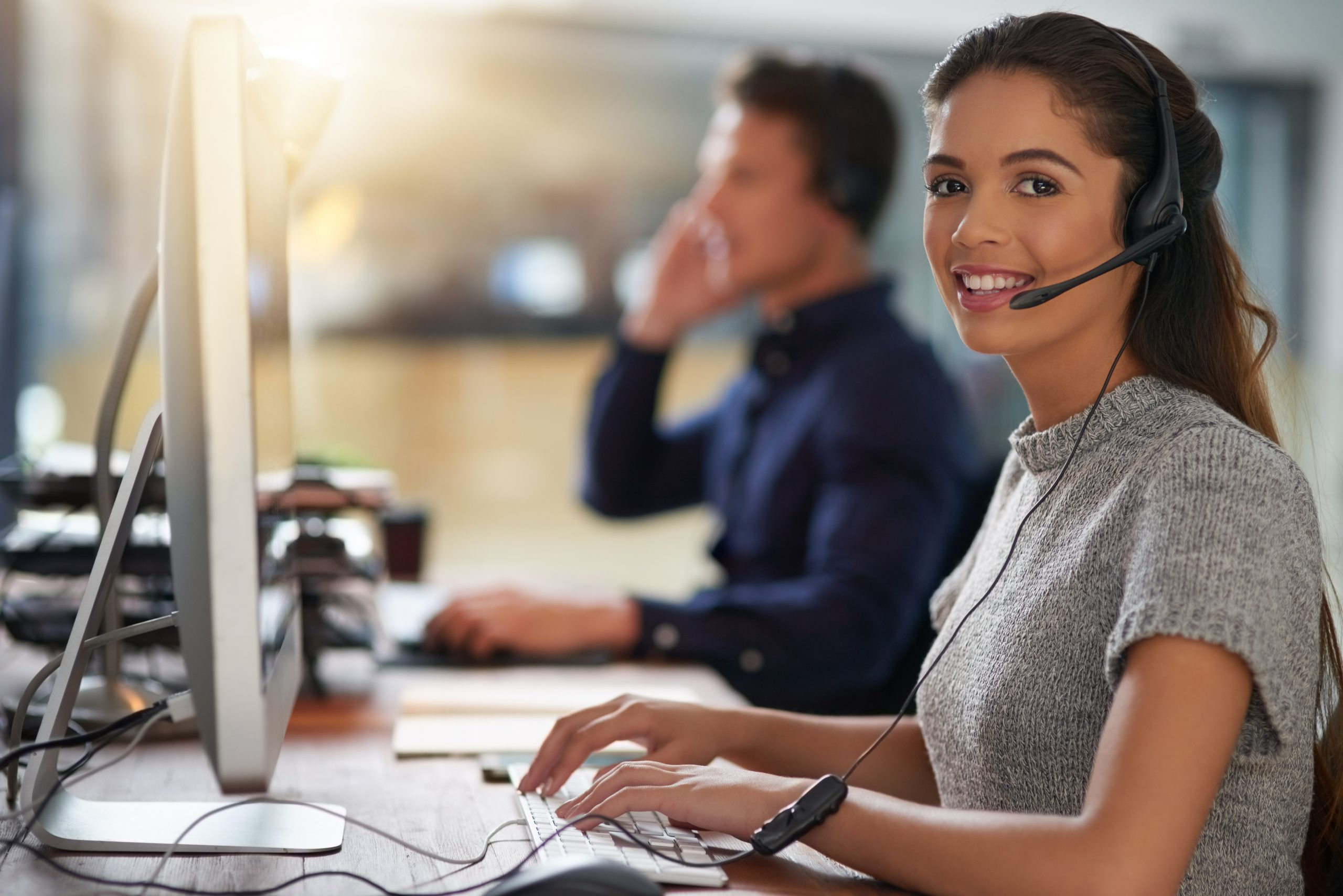 Shot of young agents working in a call center